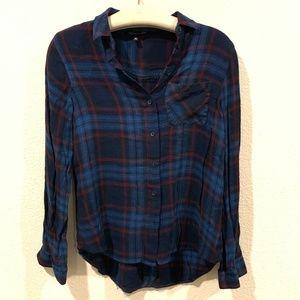Topshop blue red plaid button down flannel shirt